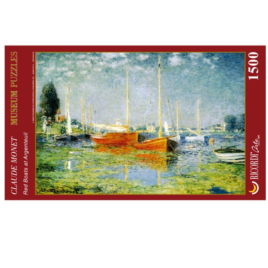 Art Puzzle Claude Monet Red boats at argenteuil rompecabezas